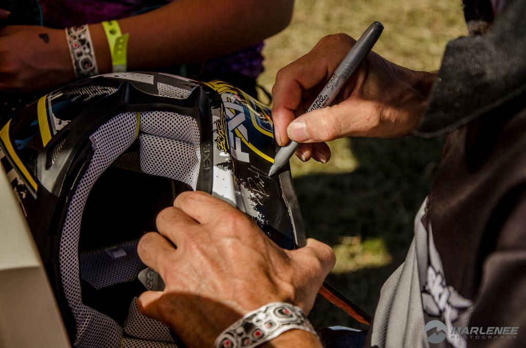 Bret Rasmussen signs FXR Helmet