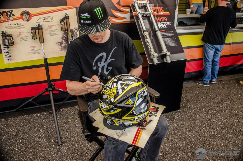 Tucker Hibbert signs FXR Helmet