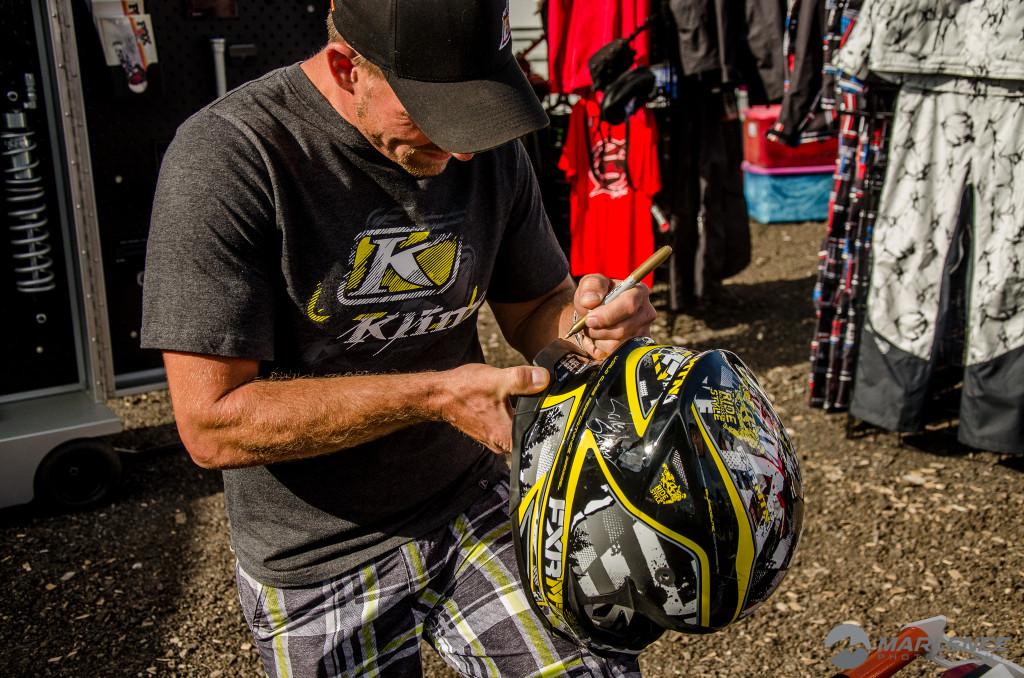Jared Sessions signs FXR Helmet