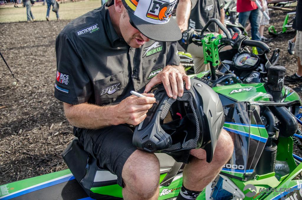 Rob Kincaid signs a Motorfist Helmet