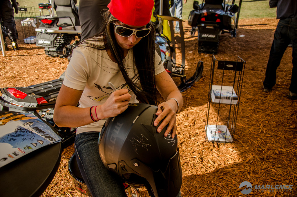 Ashley Chaffin signs a Motorfist Helmet