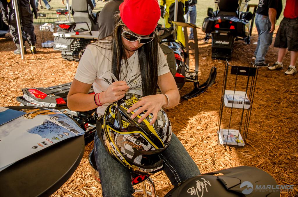 Ashley Chaffin signs FXR Helmet