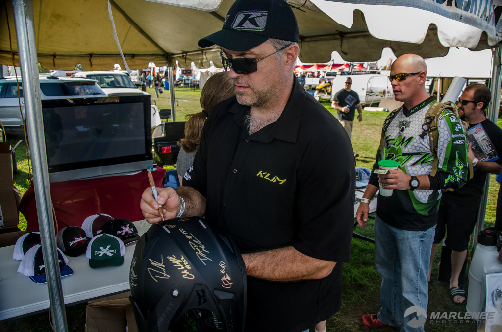 Mark Mesenbrink signs a Motorfist Helmet