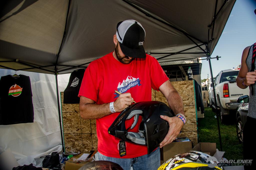 Kris 'Smasher' Kaltenbacher signing a Klim helmet