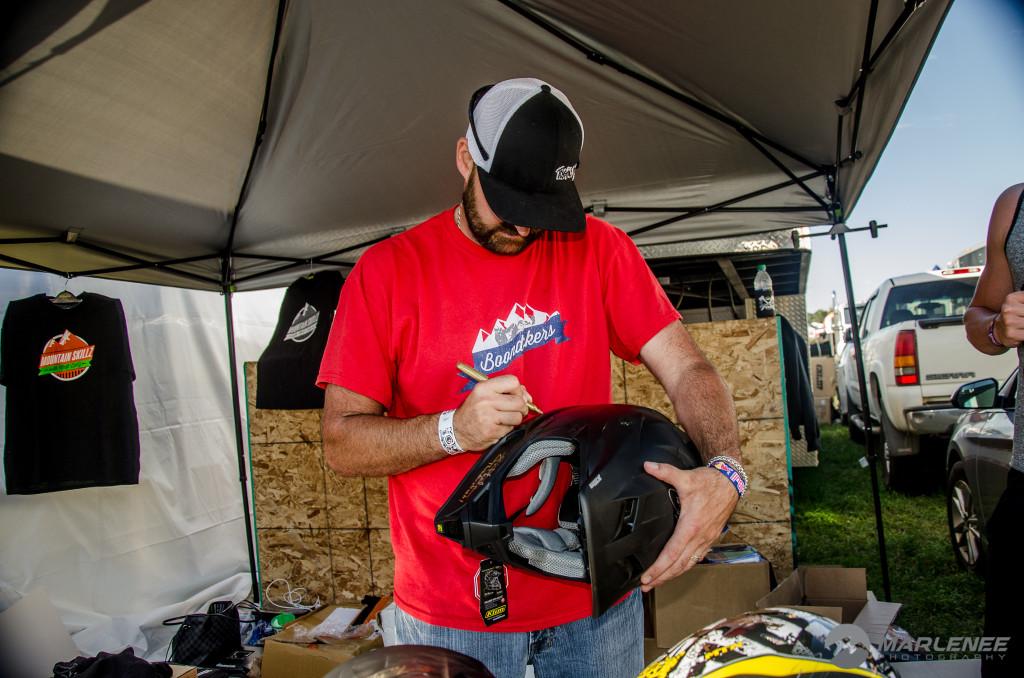 Kris 'Smasher' Kaltenbacher signs a Motorfist Helmet