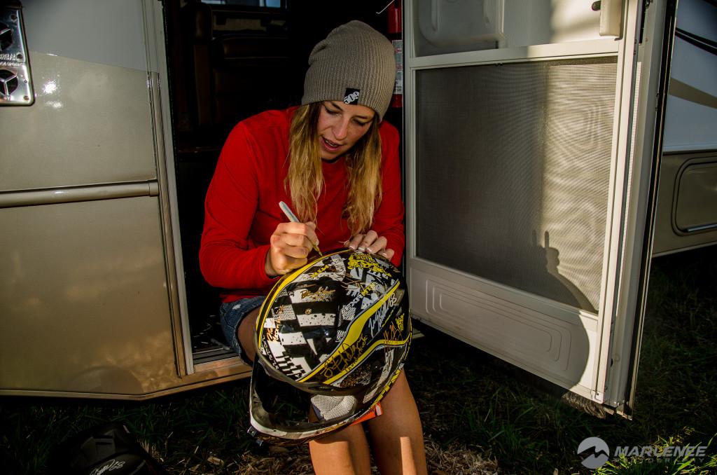 Julie-Ann Chapman signs FXR Helmet