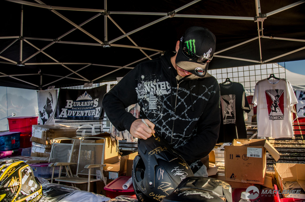 Chris Burandt signs a Motorfist Helmet