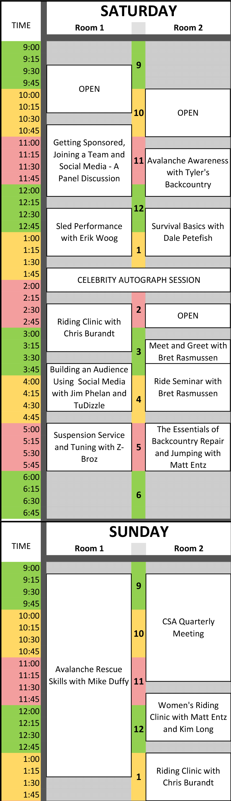 Expo Schedule - 2015 Denver Expo
