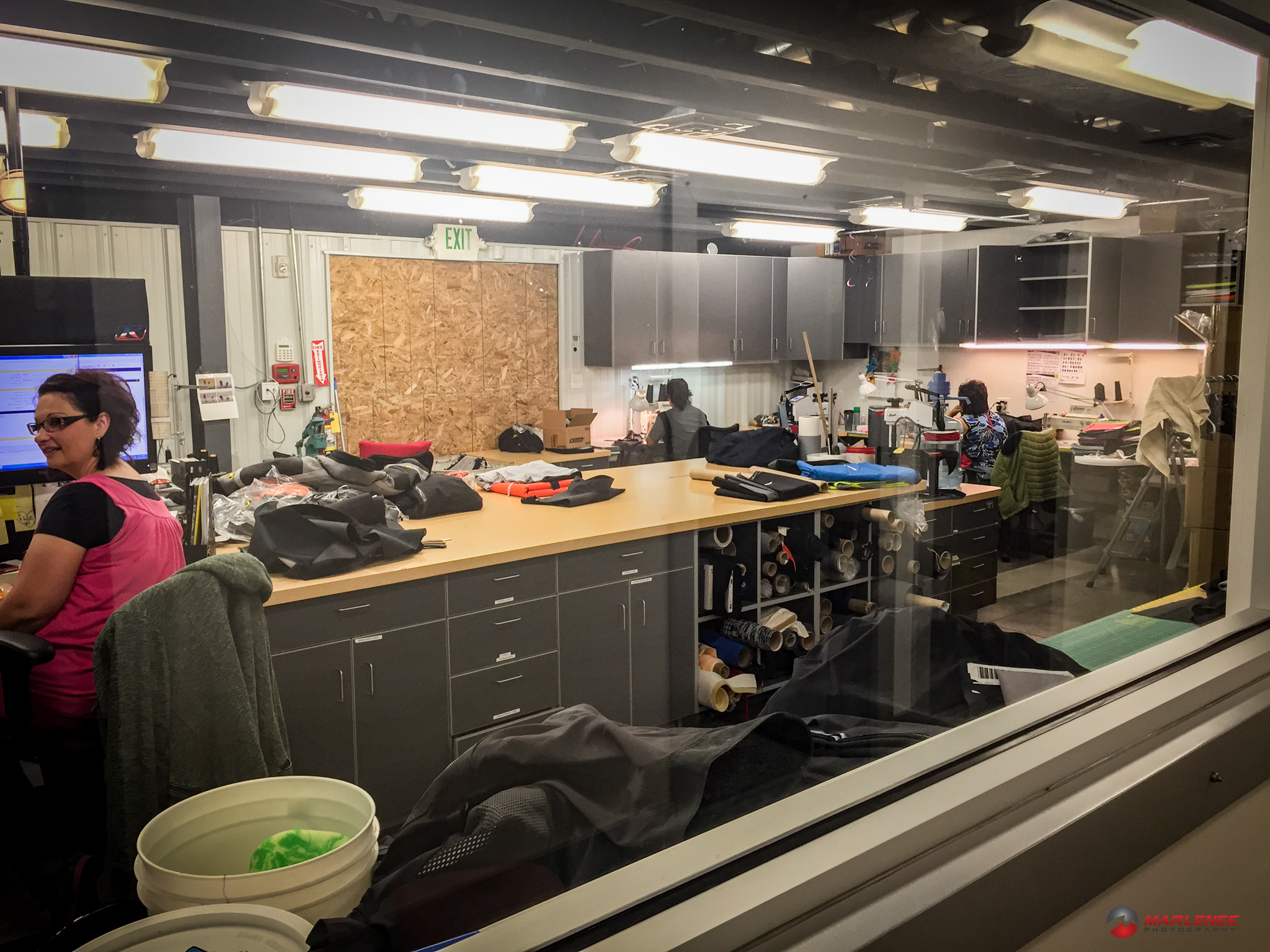 The Klim warranty department - notice how few garments are actually in here