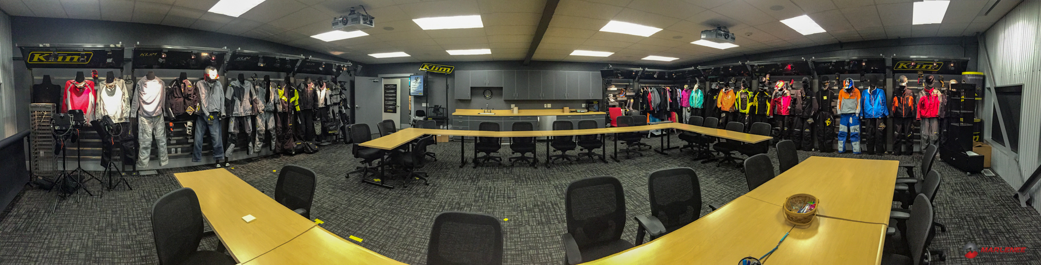 The Klim Conference Room, complete with the entire Klim lineup