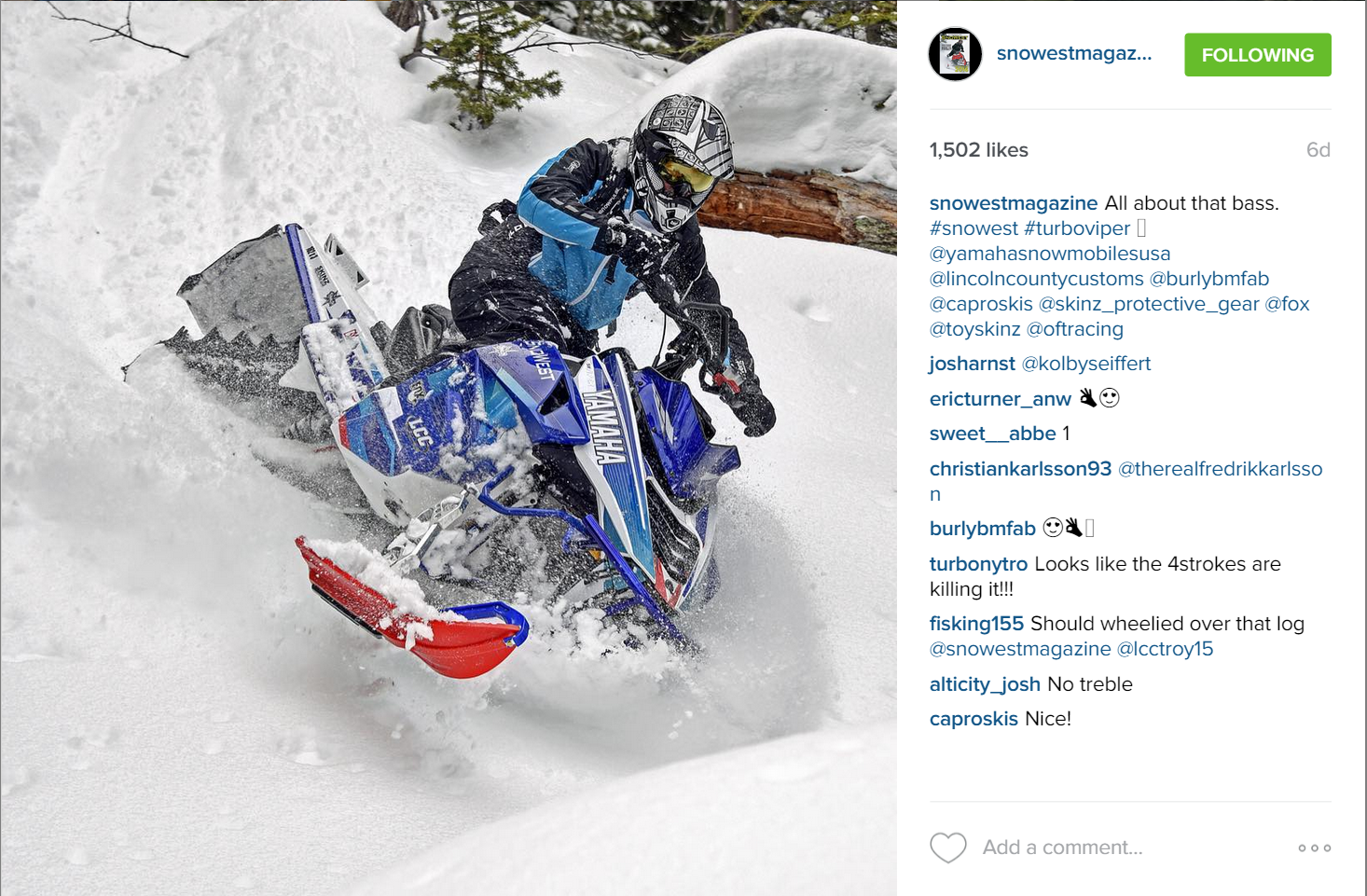 SnoWest's Instagram Account takes the prize for best IG
