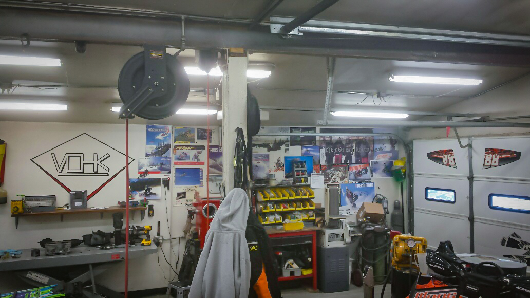 Photos of Erik's builds for his most famous customers adorn the walls of his private bay, the turbo operating room -photo by Jared Freitag