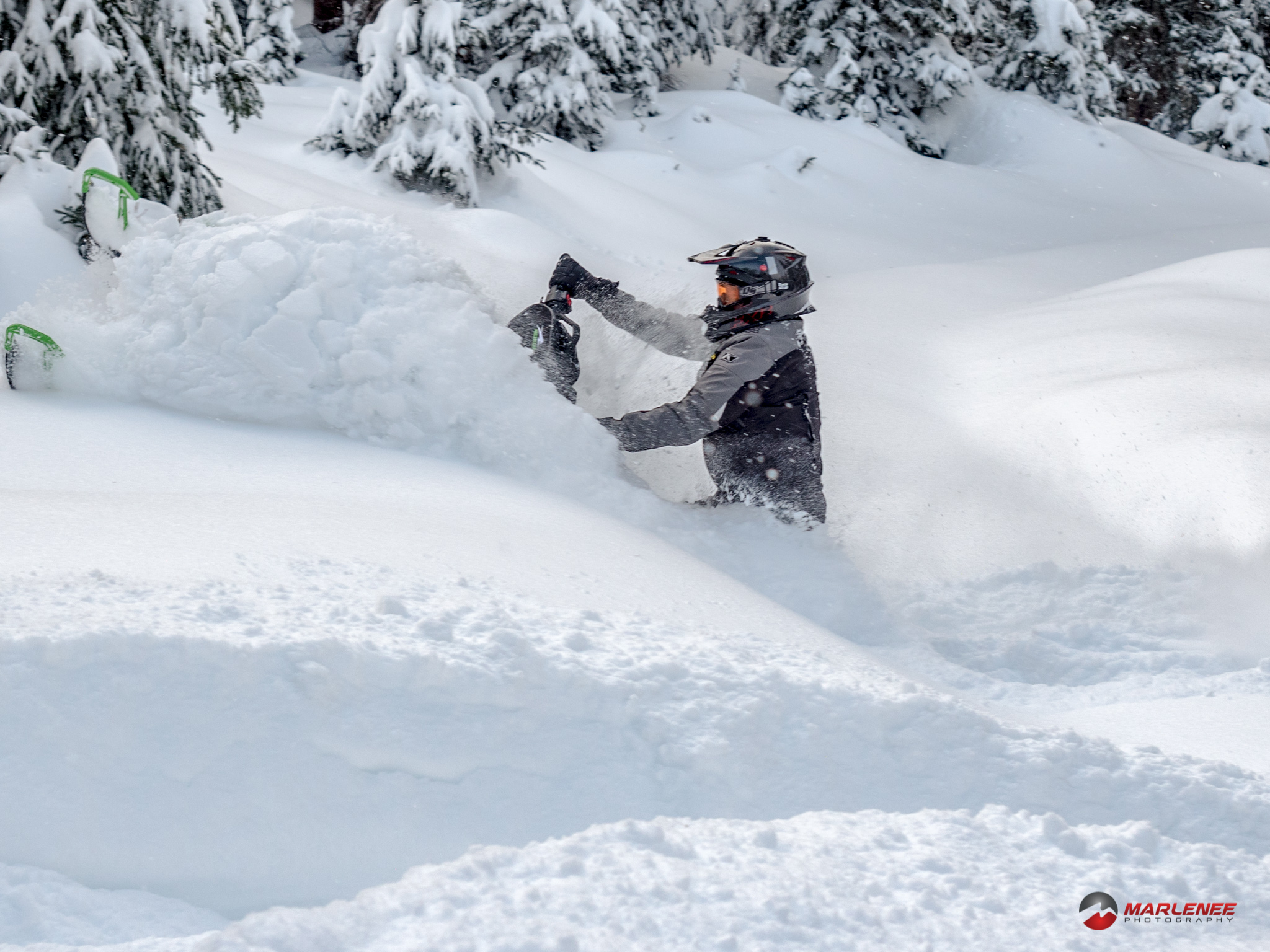 "Erik Woog powers through the fresh powder on ""Hulk"""